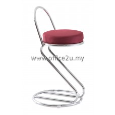 F/17 LOW BAR STOOL WITH CHROME BACKREST AND LEG