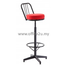 F/22 HIGH BAR STOOL WITH BLACK EPOXY BACKREST AND LEG