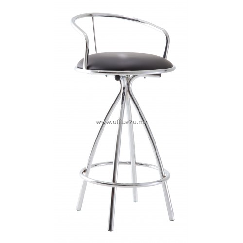 F/23 HIGH BAR STOOL WITH CHROME BACKREST AND LEG