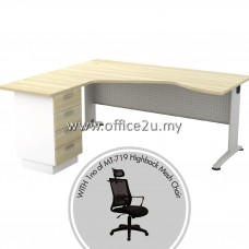 PKD-BT03 : BL-444D BILLY SERIES COMPACT L-SHAPE METAL J-LEG TABLE SET WITH FIXED PEDESTAL 4-DRAWERS + 1 UNIT OF MT-719-HB HIGHBACK MESH CHAIR