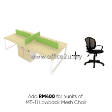 PKD-QM4 : FOUR SEATERS WORKSTATION WITH 4 UNITS OF LOWBACK MESH CHAIR