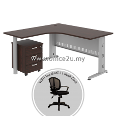 PKD-QT03 : COMPACT L-SHAPE METAL J-LEG TABLE WITH MOBILE PEDESTAL 3-DRAWERS AND LOWBACK MESH CHAIR