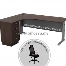 PKD-QT04 : QL-4D QUINCY SERIES COMPACT L-SHAPE METAL J-LEG TABLE SET WITH FIXED PEDESTAL 4-DRAWERS + 1 UNIT OF MT-719-HB HIGHBACK MESH CHAIR