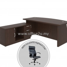 PKD-QXW01 : COMBO-QX03 QUINCY SERIES DIRECTOR TABLE SET WITH SIDE CABINET + 1 UNIT OF VITO LEATHER HIGHBACK CHAIR