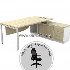 PKD-SWE2162 : SKYWALK SERIES DIRECTOR TABLE SET WITH SIDE CABINET + 1UNIT OF MT-719-HB HIGHBACK MESH CHAIR