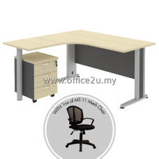 PKD-TT03 : COMPACT L-SHAPE METAL J-LEG TABLE WITH MOBILE PEDESTAL 3-DRAWERS AND LOWBACK MESH CHAIR