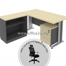 PKD-TT04 : COMBO-T04 TIMELESS SERIES RECTANGULAR TABLE SET WITH OPEN SHELF LOW CABINET AND MOBILE PEDESTAL 3D + 1 UNIT OF MT-719-HB MESH CHAIR