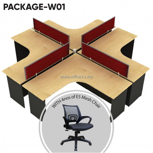 PACKAGE-W01 : WS-V4-1515 FOUR SEATERS WORKSTATION + 4 UNITS OF E5 MESH CHAIR