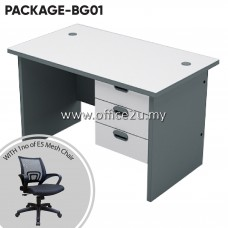 PACKAGE-BG01 : COMBO-AG01 BUDGET SERIES RECTANGULAR TABLE SET WITH FIXED PEDESTAL 3-DRAWERS + 1 UNIT OF E5 MESH CHAIR