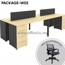 PACKAGE-W02 : WS-BM4 FOUR SEATERS WORKSTATION + 4 UNITS OF E5 MESH CHAIR