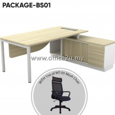 PACKAGE-BS01 SKYWALK SERIES DIRECTOR TABLE SET WITH SIDE CABINET + 1UNIT OF MT-05 HIGHBACK MESH CHAIR