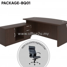 PACKAGE-BQ01 : COMBO-QX03 QUINCY SERIES DIRECTOR TABLE SET WITH SIDE CABINET + 1 UNIT OF VITO LEATHER HIGHBACK CHAIR