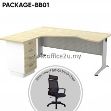 PACKAGE-BB01 : BL-444D BILLY SERIES COMPACT L-SHAPE METAL J-LEG TABLE SET WITH FIXED PEDESTAL 4-DRAWERS + 1 UNIT OF MT-05 HIGHBACK MESH CHAIR