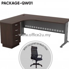 PACKAGE-QW01 : QL-4D QUINCY SERIES COMPACT L-SHAPE METAL J-LEG TABLE SET WITH FIXED PEDESTAL 4-DRAWERS + 1 UNIT OF MT-05 HIGHBACK MESH CHAIR