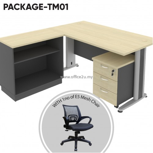 PACKAGE-TM01 : COMBO-T04 TIMELESS SERIES RECTANGULAR TABLE SET WITH OPEN SHELF LOW CABINET AND MOBILE PEDESTAL 3D + 1 UNIT OF E5 MESH CHAIR