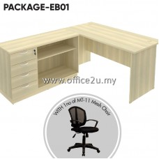 PACKAGE-EB01 : COMBO-EX05 EXOTIC SERIES RECTANGULAR TABLE SET WITH COMBINATION LOW CABINET (OPEN SHELF + FIXED PEDESTAL 4D) + 1 UNIT OF MT-11 MESH CHAIR