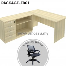 PACKAGE-EB01 : COMBO-EX05 EXOTIC SERIES RECTANGULAR TABLE SET WITH COMBINATION LOW CABINET (OPEN SHELF + FIXED PEDESTAL 4D) + 1 UNIT OF E5 MESH CHAIR