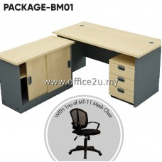 PACKAGE-BM01 : COMBO-GM04 BUDGET SERIES RECTANGULAR TABLE SET WITH SIDE CABINET AND MOBILE PEDESTAL 3-DRAWERS + 1 UNIT OF MT-11 MESH CHAIR