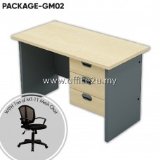 PACKAGE-BM02 : COMBO-GM01 BUDGET SERIES RECTANGULAR TABLE SET WITH FIXED PEDESTAL 3-DRAWERS + 1 UNIT OF MT-11 MESH CHAIR