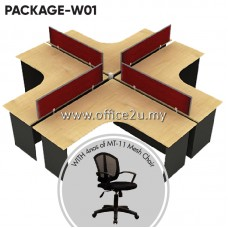 PACKAGE-W01 : WS-V4-1515 FOUR SEATERS WORKSTATION + 4 UNITS OF MT-11 MESH CHAIR
