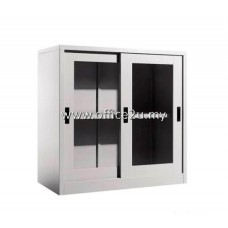 C-110 HALF HEIGHT STEEL CUPBOARD WITH GLASS SLIDING DOOR