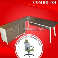 COMBO SPECIALS #1 : PX7 SERIES EXECUTIVE TABLE SET WITH SIDE CABINET AND FIXED PEDESTAL 2-DRAWERS & 1-FILING (2D1F) + 1NO OF VICTORY HIGHBACK MESH CHAIR