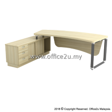 Q-OXL2463 OVERJOY SERIES DIRECTOR TABLE SET WITH SIDE SIDE CABINET (LEFT) - TOP THICKNESS : 41MM