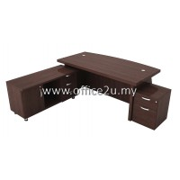 COMBO-QX01 QUANTUM SERIES DIRECTOR TABLE SET WITH SIDE CABINET AND MOBILE PEDESTAL 1-DRAWER & 1-FILING (1D1F)