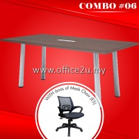COMBO SPECIALS #6 : QV RECTANGULAR MEETING TABLE + 6NOS OF E5 MESH CHAIR