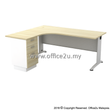 BL-3D BILLY SERIES COMPACT L-SHAPE METAL J-LEG TABLE SET WITH FIXED PEDESTAL 2-DRAWERS 1-FILING