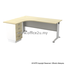 BL-4D BILLY SERIES COMPACT L-SHAPE METAL J-LEG TABLE SET WITH FIXED PEDESTAL 4-DRAWERS