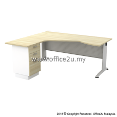 BL-443D BILLY SERIES COMPACT L-SHAPE METAL J-LEG TABLE SET WITH FIXED PEDESTAL 2-DRAWERS 1-FILING