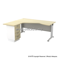 BL-444D BILLY SERIES COMPACT L-SHAPE METAL J-LEG TABLE SET WITH FIXED PEDESTAL 4-DRAWERS