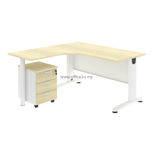 PKD-BT02 : COMPACT L-SHAPE METAL J-LEG TABLE WITH MOBILE PEDESTAL 3-DRAWERS AND LOWBACK MESH CHAIR