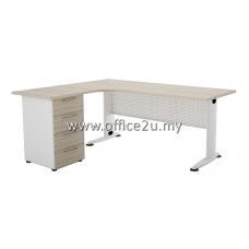 BL-D BILLY SERIES COMPACT L-SHAPE METAL J-LEG TABLE SET WITH FIXED PEDESTAL 4-DRAWERS