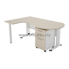 COMBO-B01 BILLY SERIES COMPACT P-SHAPE METAL J-LEG L-TABLE SET WITH MOBILE PEDESTAL 2-DRAWERS AND 1-FILING (2D1F)