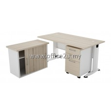 COMBO-B02 BILLY SERIES RECTANGULAR METAL J-LEG TABLE SET WITH SIDE CABINET AND MOBILE PEDESTAL 2-DRAWERS AND 1-FILING (2D1F)