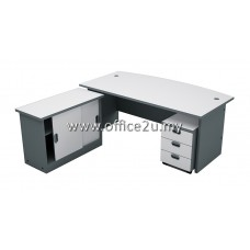 COMBO-A03 BUDGET SERIES 6FT CURVE-FRONT EXECUTIVE TABLE SET WITH SIDE CABINET & MOBILE PEDESTAL 3-DRAWERS