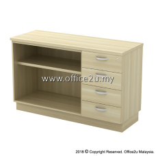 EX-YOP7124 COMBINATION LOW CABINET (OPEN SHELF + FIXED PEDESTAL 4D)