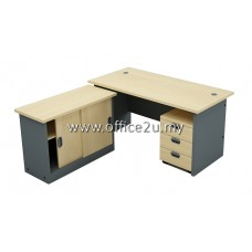 COMBO-GM04 BUDGET SERIES RECTANGULAR TABLE SET WITH SIDE CABINET AND MOBILE PEDESTAL 3-DRAWERS