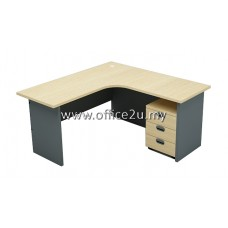 COMBO-GM06 BUDGET SERIES COMPACT L-SHAPE TABLE SET WITH MOBILE PEDESTAL 3-DRAWERS