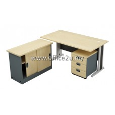 COMBO-G06 GREAT SERIES RECTANGULAR METAL J-LEG TABLE SET WITH SIDE CABINET AND MOBILE PEDESTAL 3-DRAWERS