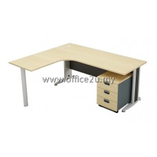 COMBO-G08 GREAT SERIES COMPACT L-SHAPE METAL J-LEG TABLE SET WITH MOBILE PEDESTAL 3-DRAWERS