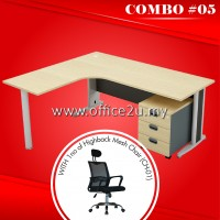 COMBO SPECIALS #5 : GREAT SERIES COMPACT L-SHAPE METAL J-LEG TABLE SET WITH MOBILE PEDESTAL 3-DRAWERS + 1NO OF O2U-CH01 HIGHBACK MESH CHAIR