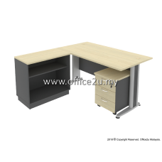 COMBO-T04 TIMELESS SERIES RECTANGULAR TABLE SET WITH OPEN SHELF LOW CABINET AND MOBILE PEDESTAL 3D