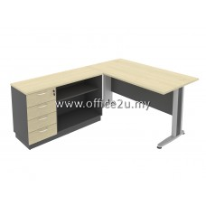 COMBO-T05 TIMELESS SERIES RECTANGULAR METAL J-LEG TABLE SET WITH COMBINATION LOW CABINET