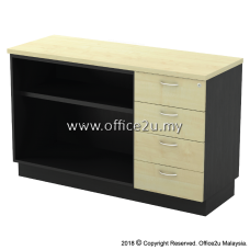 T-YOP7124 COMBINATION LOW CABINET (OPEN SHELF + FIXED PEDESTAL 4D)