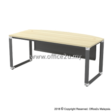 OMB-180A OVERJOY SERIES CURVE-FRONT EXECUTIVE TABLE - METAL MODESTY PANEL