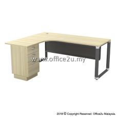 OML-3D OVERJOY SERIES COMPACT L-SHAPE TABLE WITH FIXED PEDESTAL 2-DRAWERS 1-FILING - METAL MODESTY PANEL