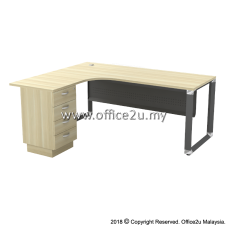 OML-4D OVERJOY SERIES COMPACT L-SHAPE TABLE WITH FIXED PEDESTAL 4-DRAWERS - WOODEN MODESTY PANEL